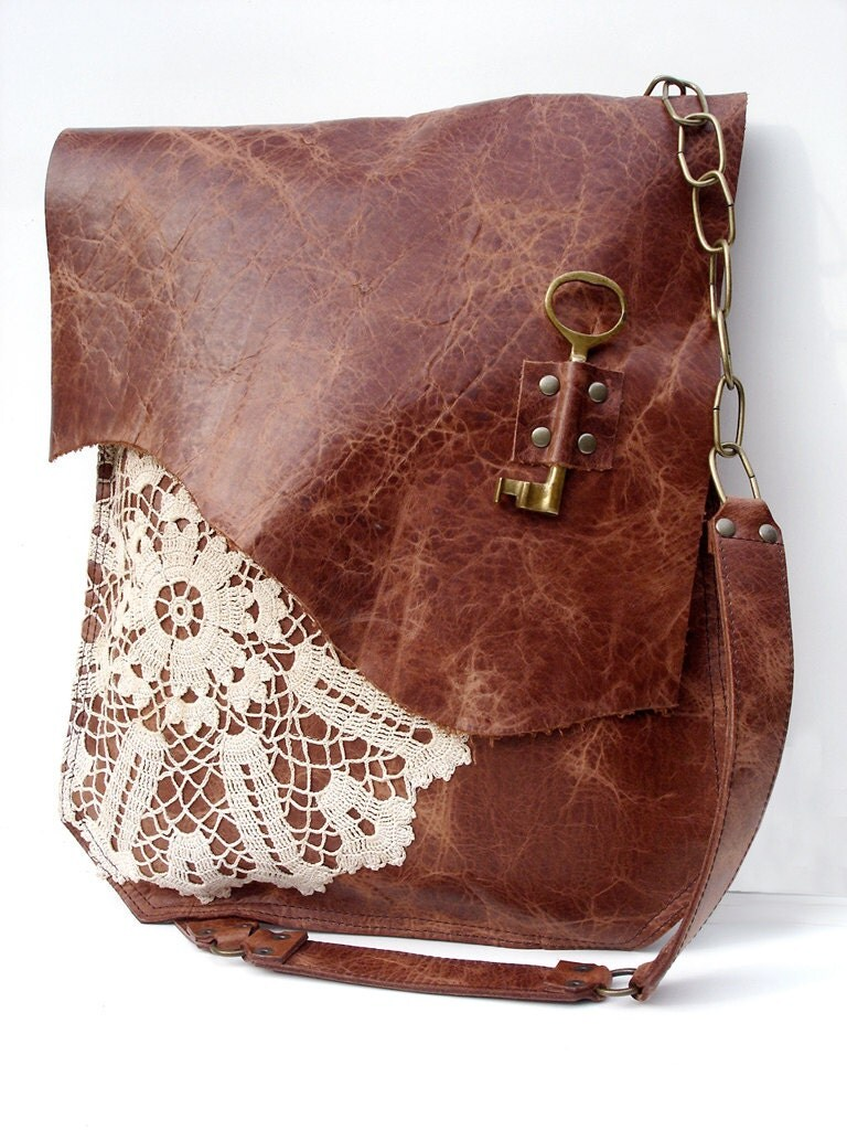 Leather Crochet Bag : Sale - Boho Leather Messenger Bag with Crochet Lace & Antique Key - XL ...