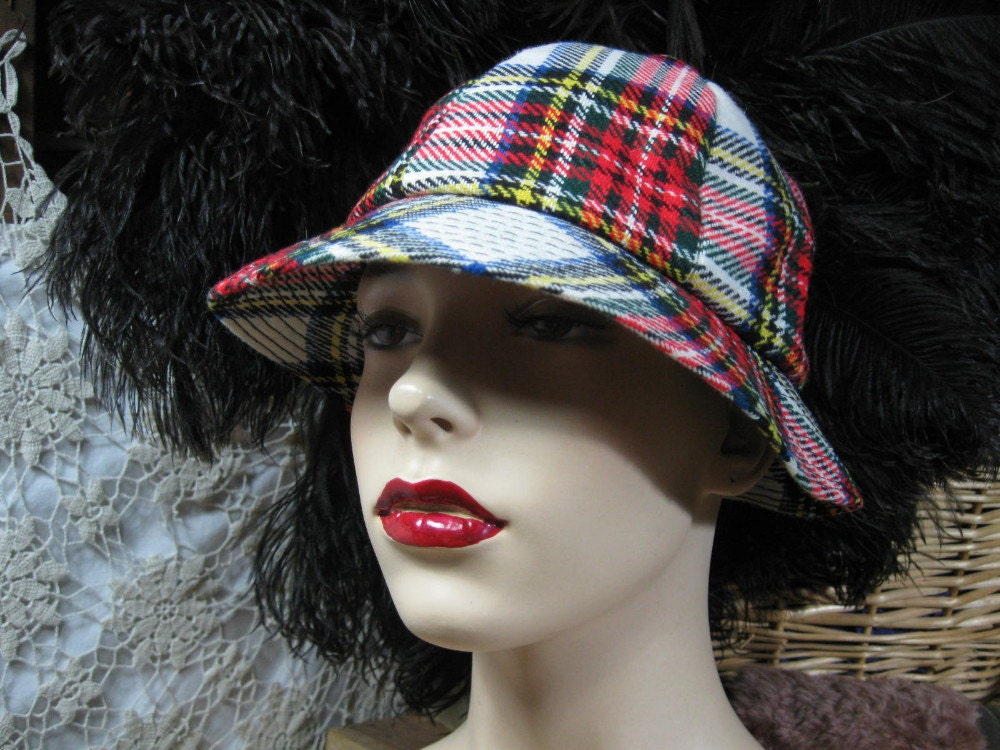 Plaid hat vintage Tartan plaid brimmed hat