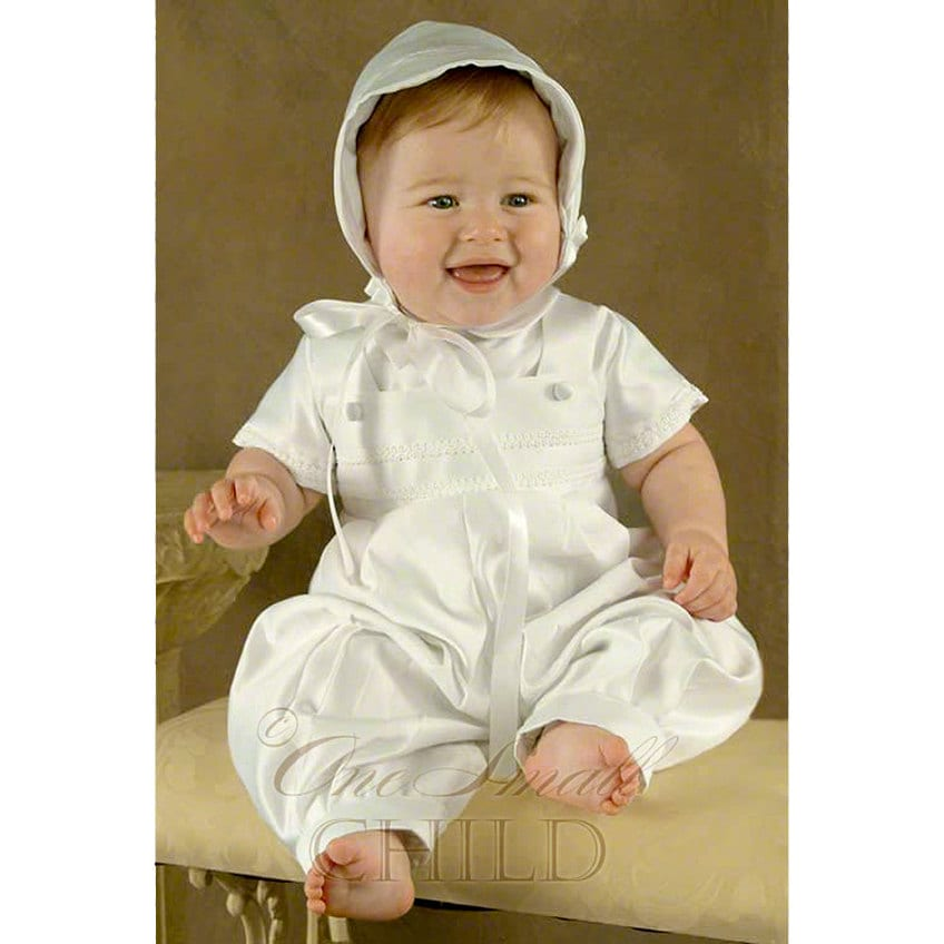 Boys' Christening Outfits Outfit your little boy or baby for this very special day in one of our classic boys? baptism outfits. Fashioned in fine quality cottons with silk accents, you can choose a complete ensemble with tailored shorts, shirt, vest, and cap?there?s even a mock bowtie.