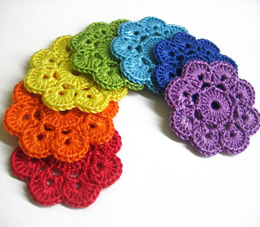Handmade Crochet : Handmade Crocheted Flower Appliques Motifs in by KikamoraCrafts ...