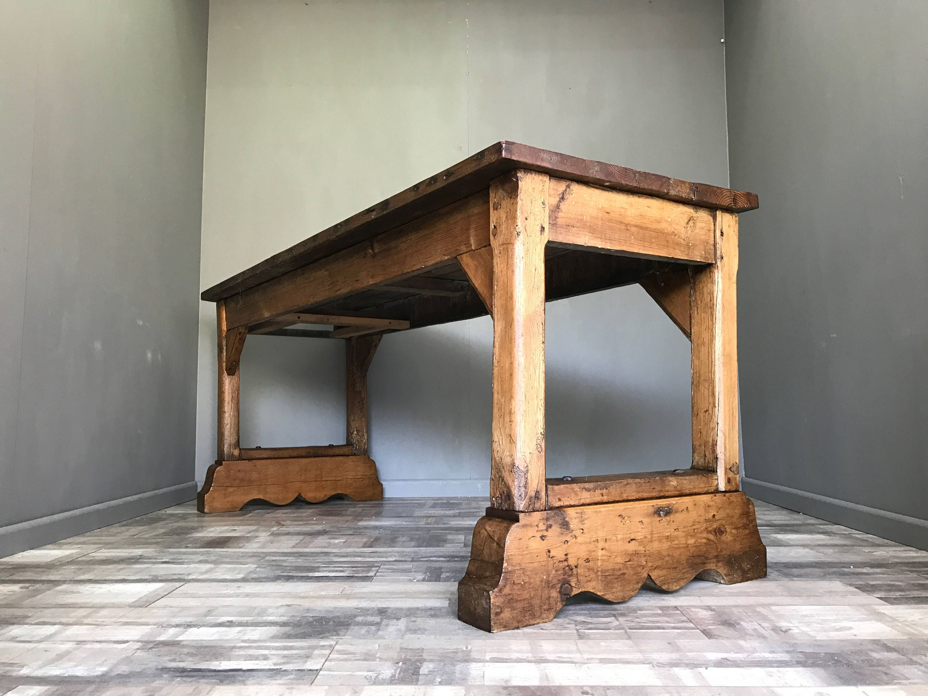 Stunning Antique Rustic Pine Dining Table Farmhouse Church Kitchen Island Bench