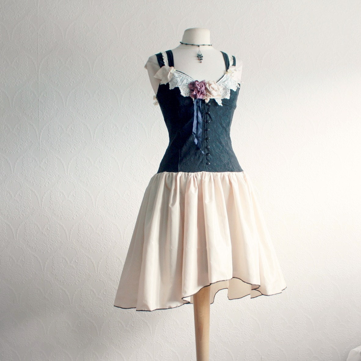shabby chic clothing black and cream dress vintage by