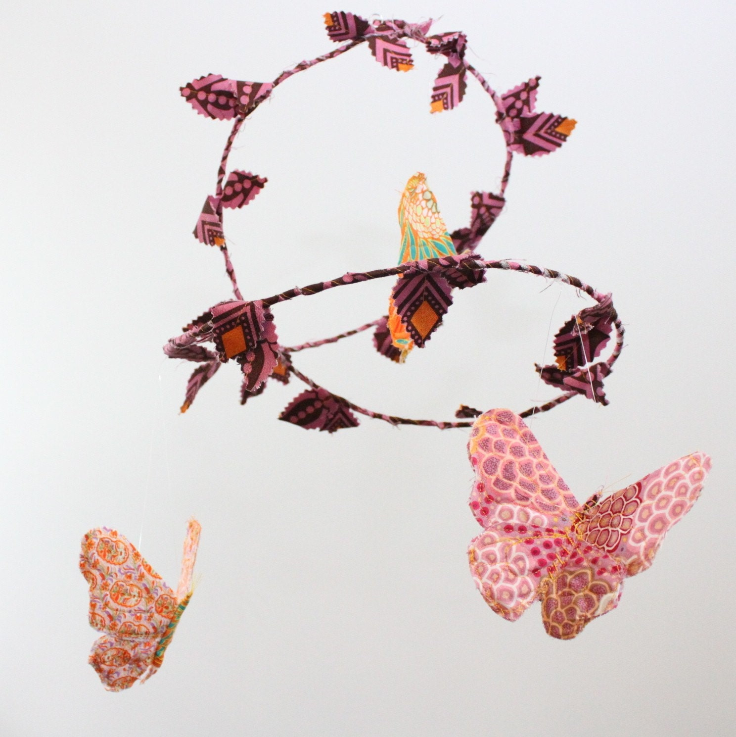 Butterfly ballet - handmade fabric mobile in peach, clementine orange, sunny yellow, rose, magenta, hot pink, brown, and white