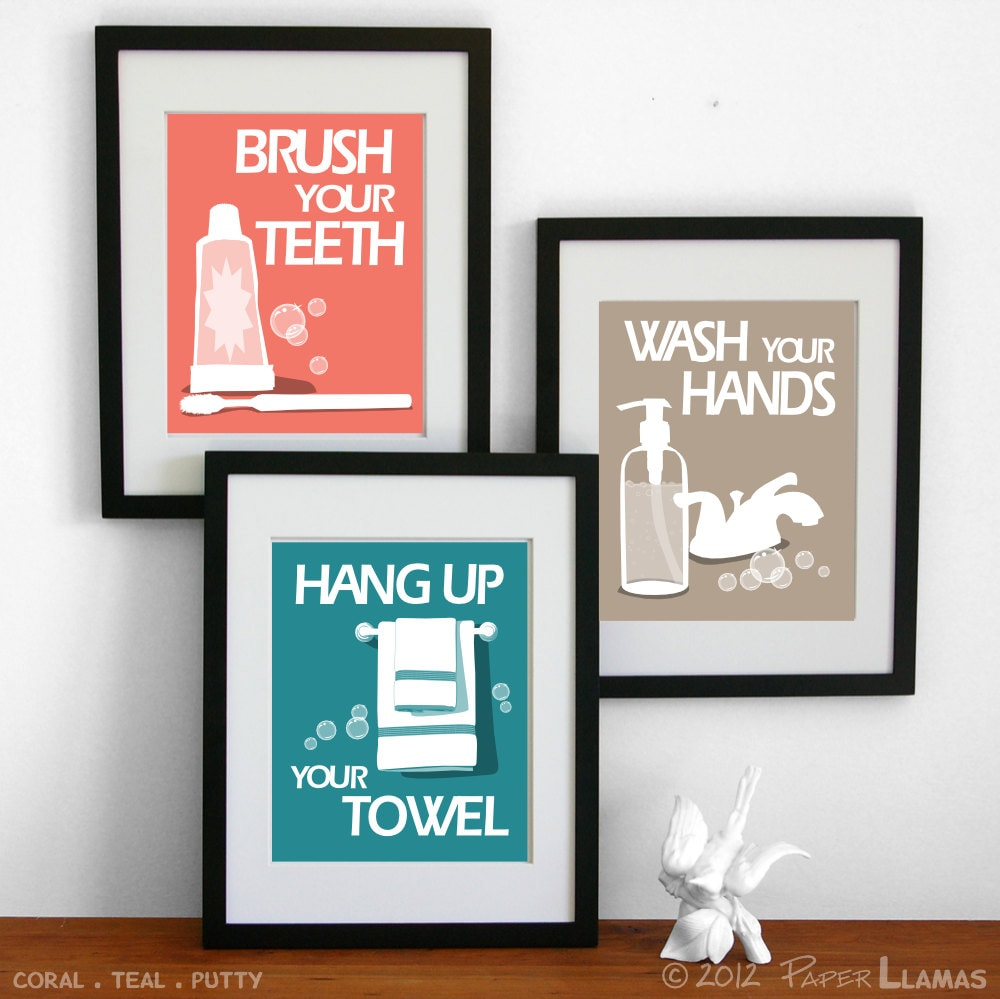 Bathroom Art Prints, Wash Your Hands, Brush Your Teeth, Wash behind your ears, No splashing, Pick 3 -custom colors- 5x7