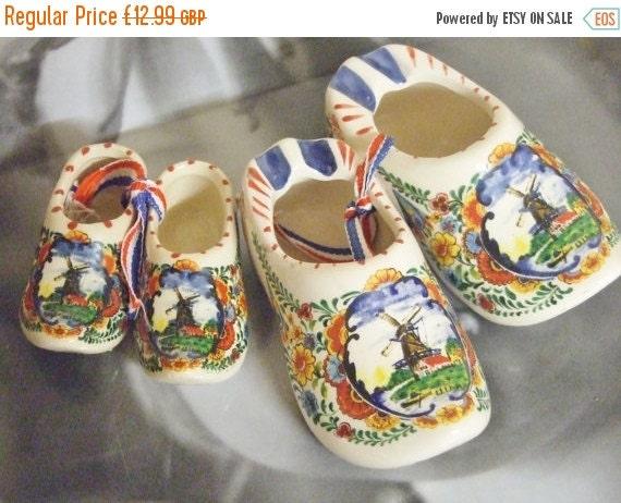 On Sale Holland Delftblue pair of porcelain clogs miniature dutch clogs made in Holland floral designs