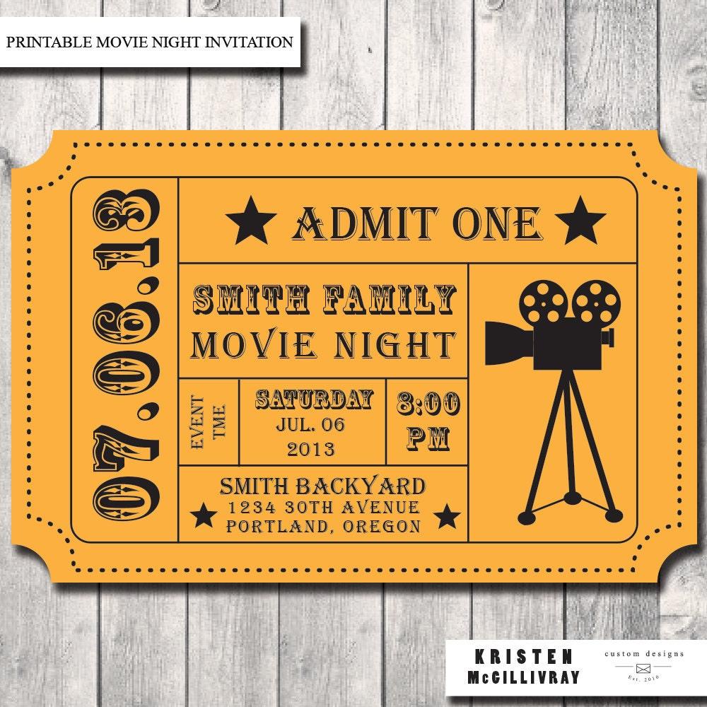 Declarative image inside printable movie ticket