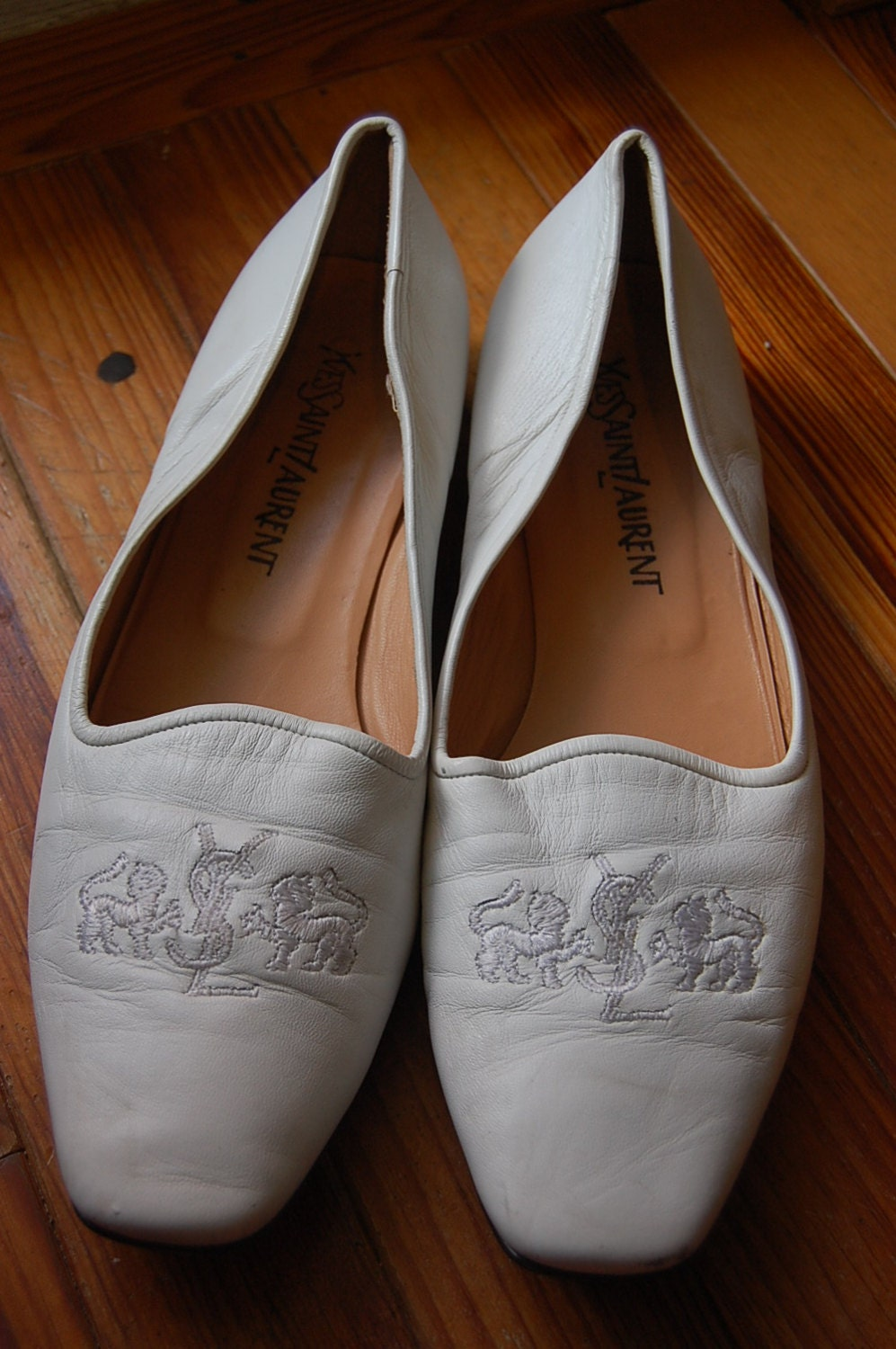 vintage yves laurent ysl white leather by