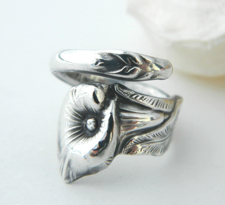 sterling silver spoon ring calla by californiaspoonrings