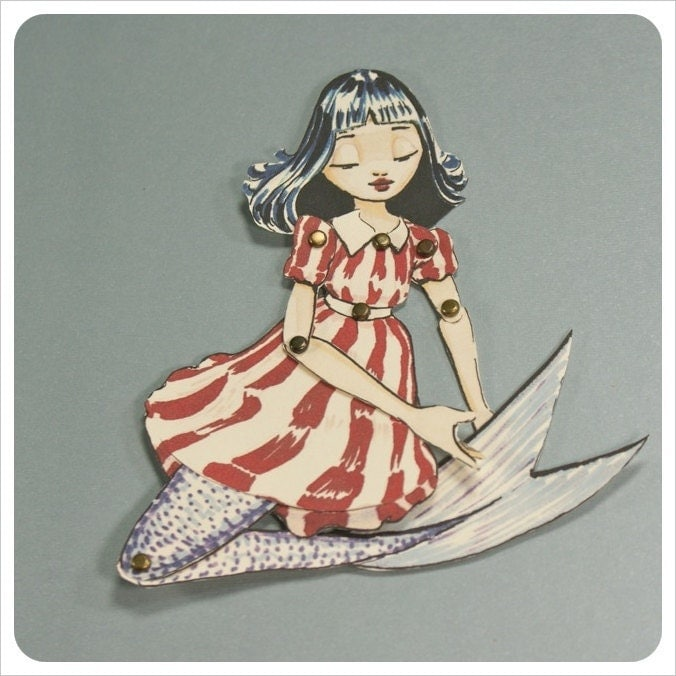 Mermaid Paper Doll-  Fairy Tale Art Doll Character - Red White Blue - Animated Articulated Illustration