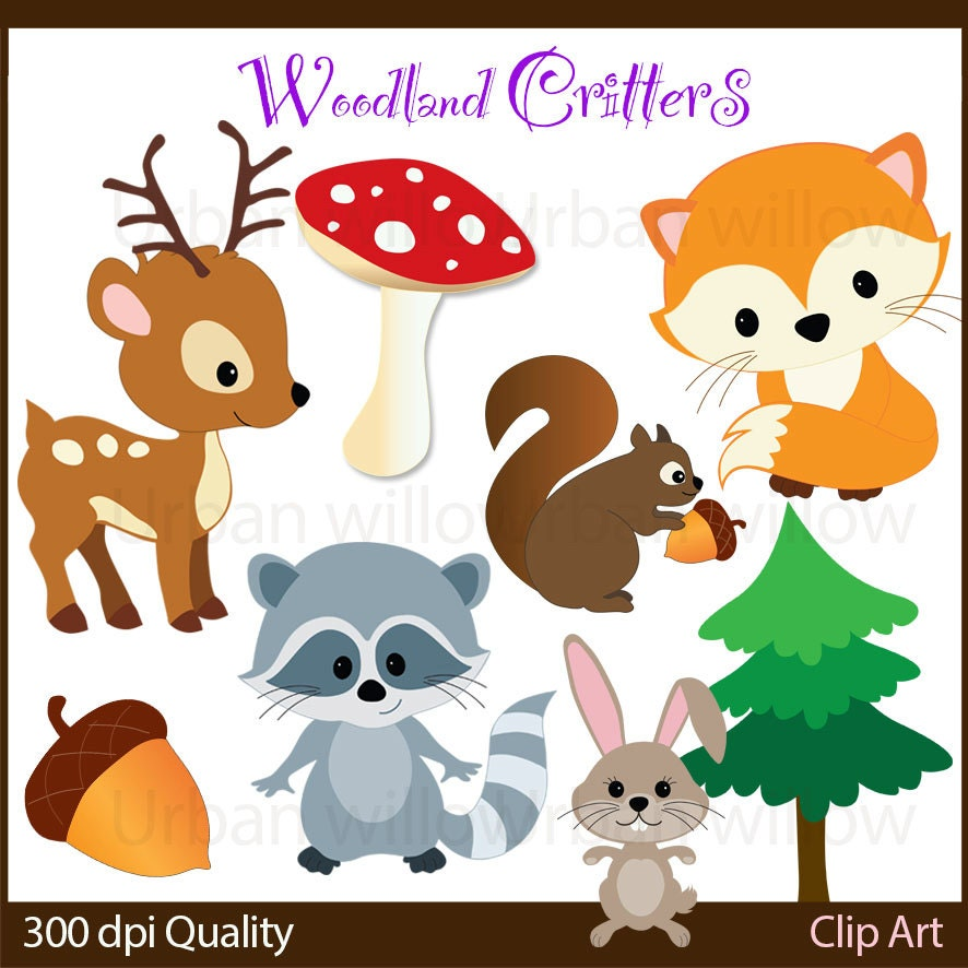 WOODLAND CRITTERS- 10 piece clip art for personal and commercial use ...