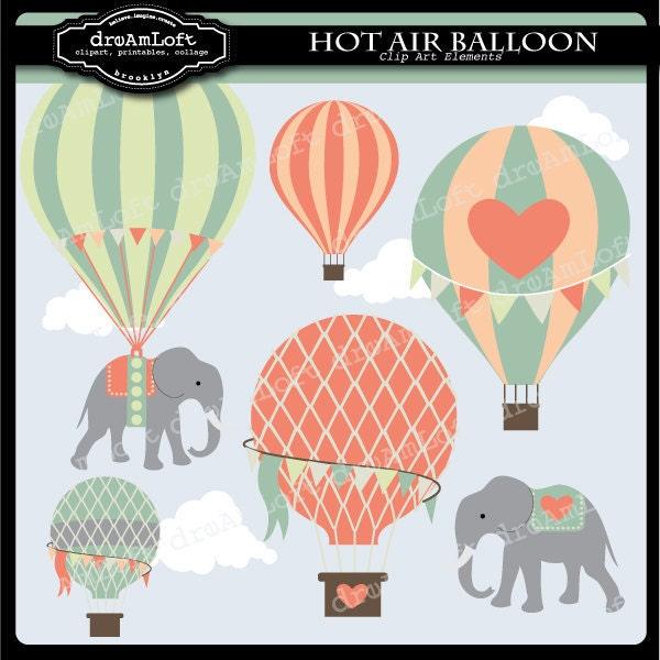 Hot Air Balloons And Elephants Clip Art Digital By DreAmLoft