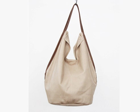 Nude leather tote bag- Charley Bag- Soft leather bag