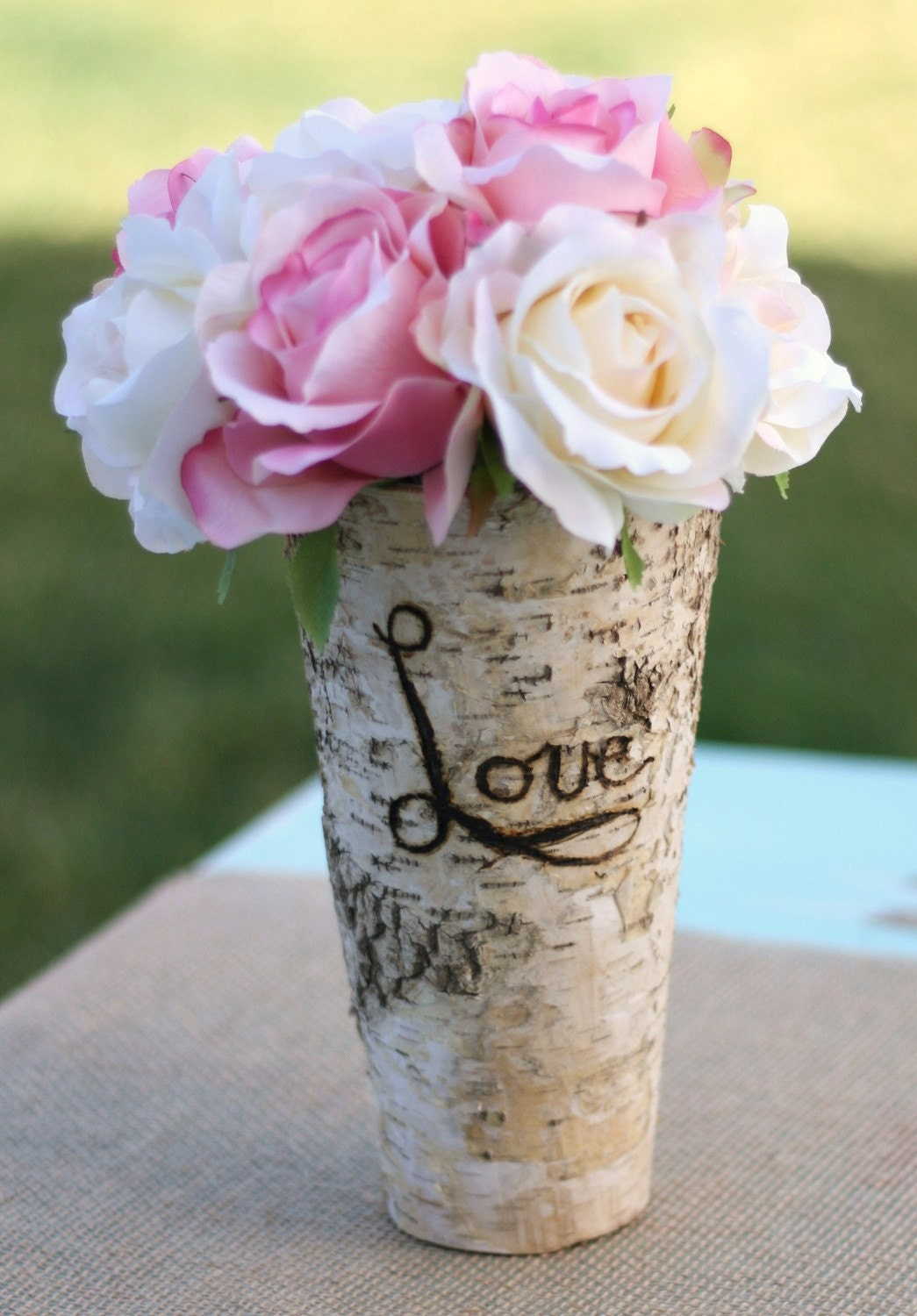 Engraved With LOVE Personalized Tall Birch Wood Vase