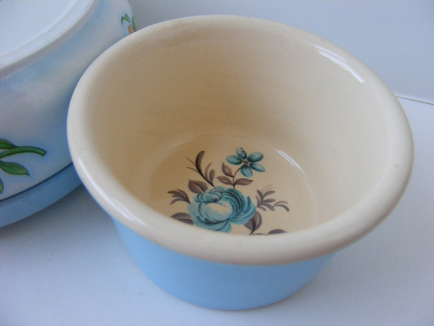 Ramekin T.G. Green Church Gresley Cornishware Blue Floral - TinsAndThings