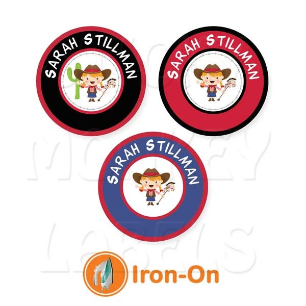Iron on labels dot style cowgirl pick your by for Iron on shirt labels