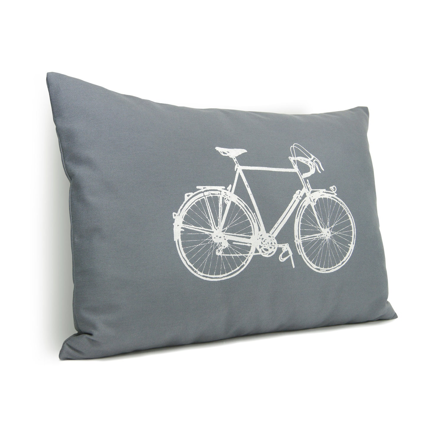 Gray and white decorative pillow cover - White vintage bicycle print on medium grey twill fabric - 12x16 lumbar pillow cover - ClassicByNature