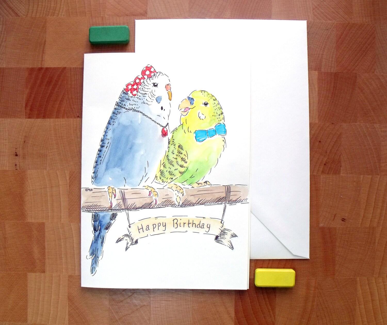 Animal Greeting Card - Budgie Drawing - Birthday Card - Hand Drawn Greeting Card