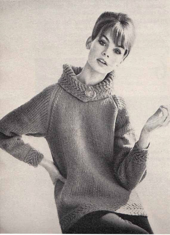 Cowl Neck Hoodie Knitting Pattern : 1960s Vintage VOGUE KNIT PATTERNButtoned Cowl by ...