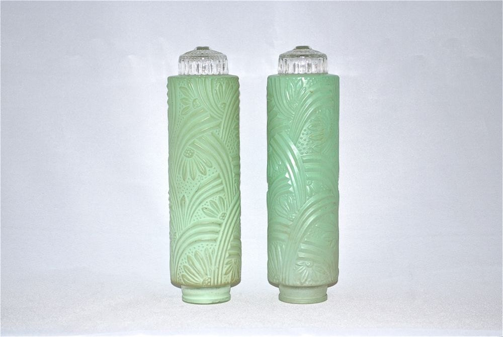 pair of vintage mint green bullet lamp shades with by. Black Bedroom Furniture Sets. Home Design Ideas