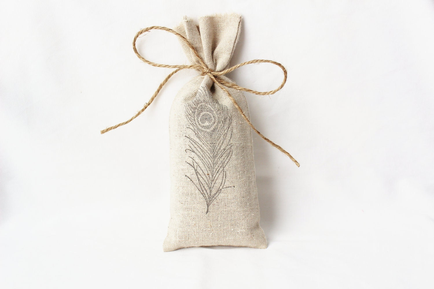 Lavender Sachet, Peacock Feather, Refillable