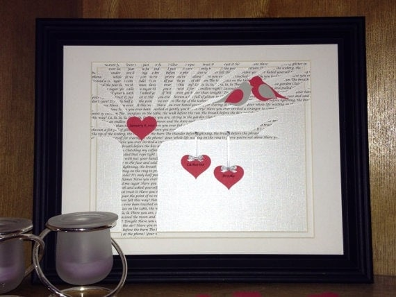 Art Piece Wedding Gift : Unique First Anniversary Gift, Love Song Lyrics Tree - Customized ...