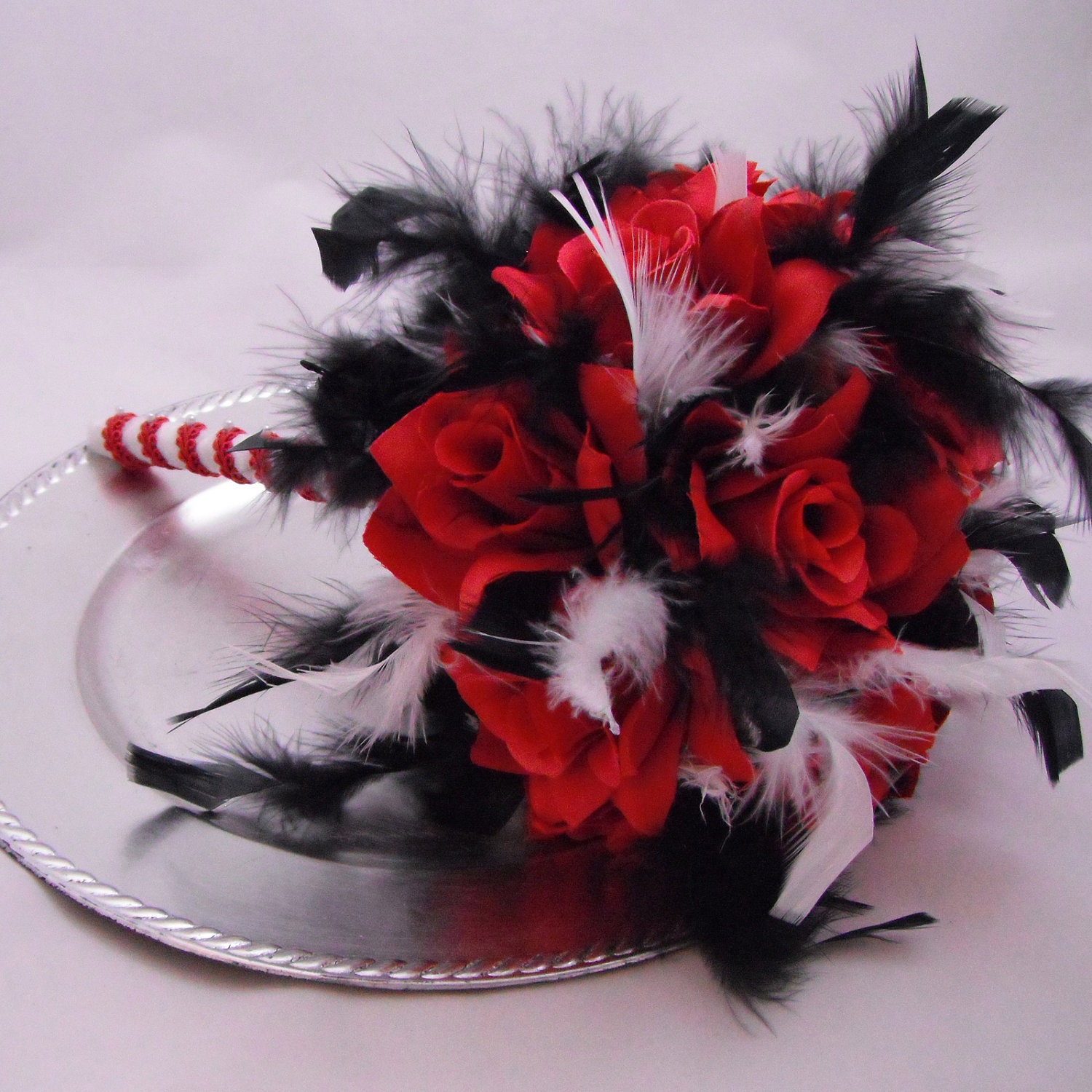 Bridal Wedding Bouquet 12 Roses Red Roses By DarkRoseTreasures
