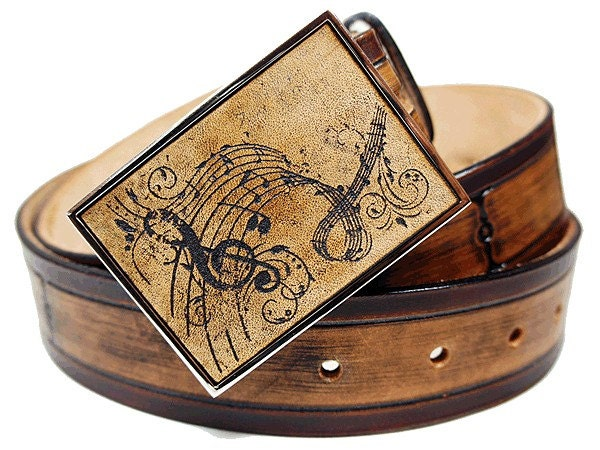 Inlay Leather Belt Buckle - Music and Me
