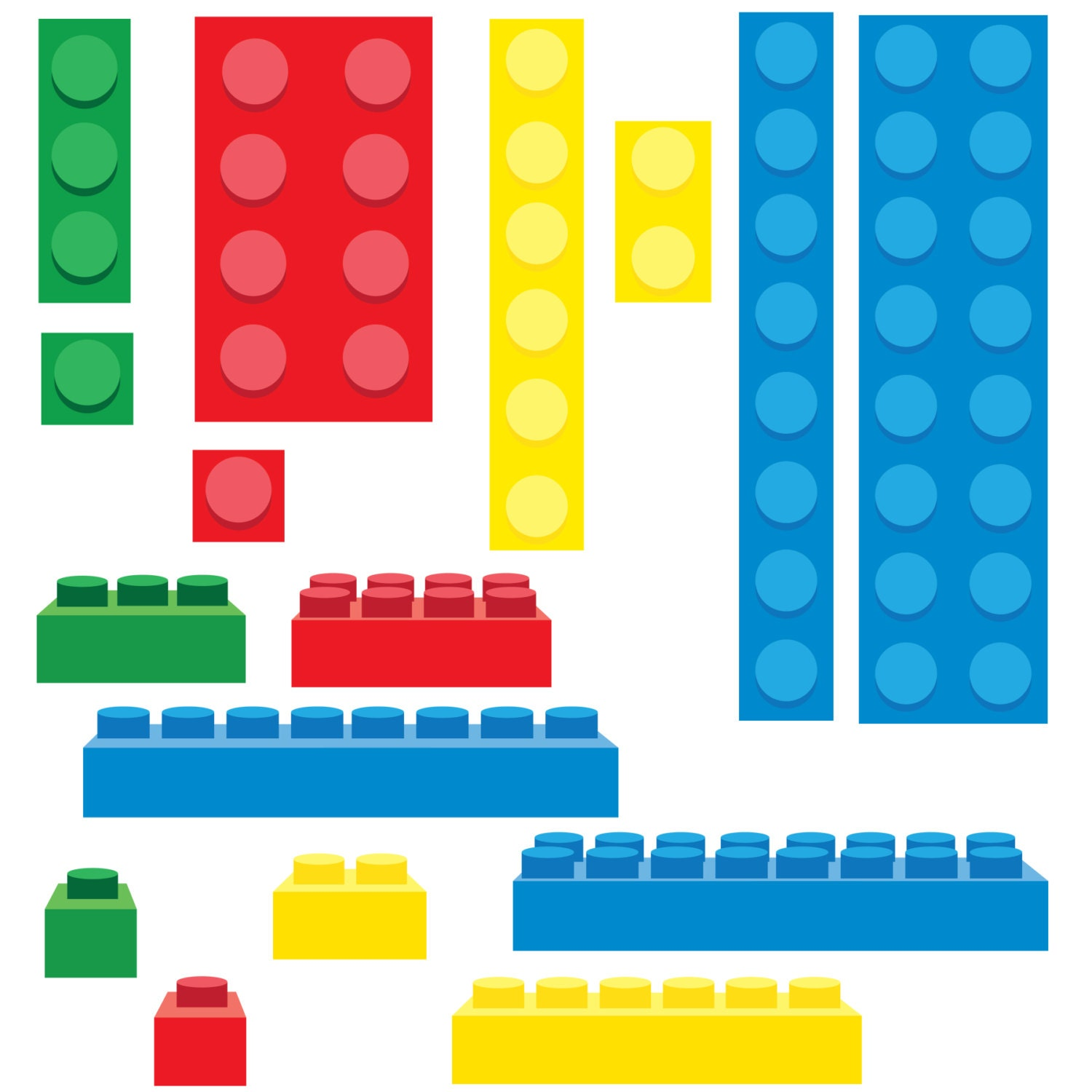 Items similar to Lego Inspired Building Blocks Clip Art - PNG on Etsy