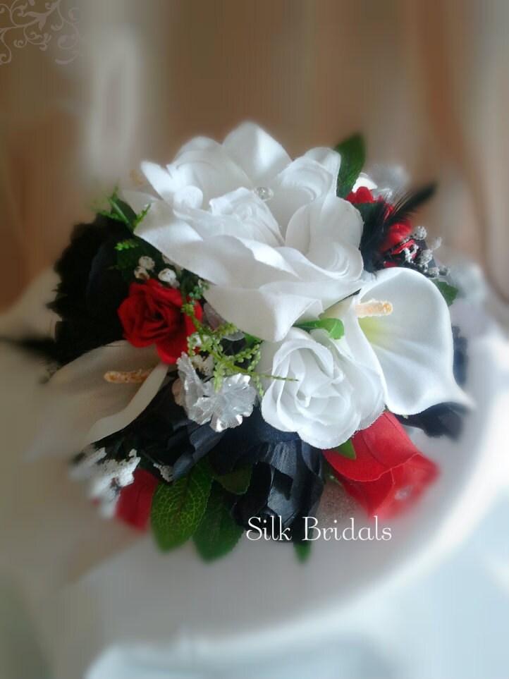 Wedding Cake Decorations Silk Flowers : Items similar to Silk flowers Cake Topper Red Black White ...