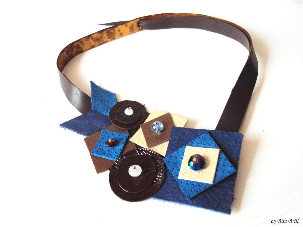 Denim Blue Leather Bib Necklace, Geometric Necklace, Blue Brown Necklace, Leather Jewelry, Geometric Jewelry - BijuBrill