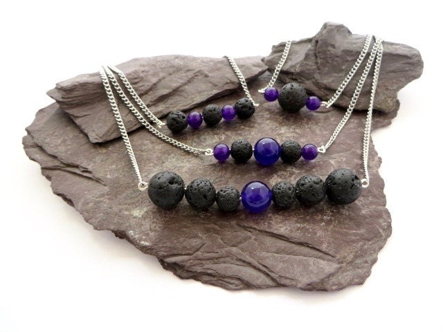 Aromatherapy essential oil diffuser necklace Amethyst gemstone jewelry lava rock jewelry gift for her volcanic stone beads yoga gift
