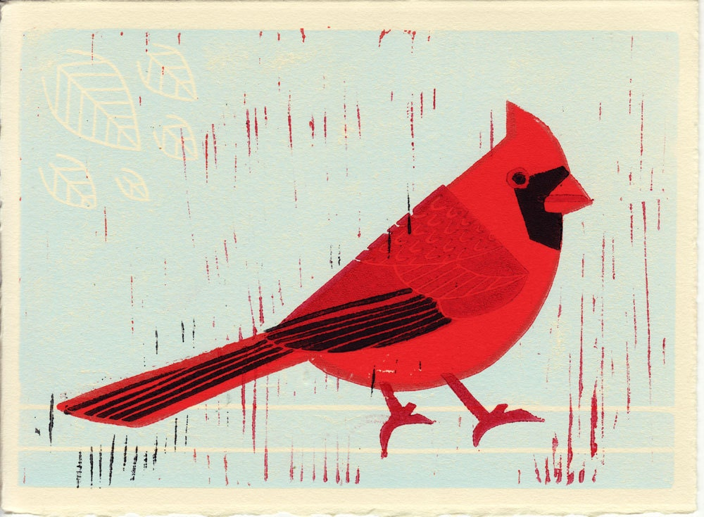 Cardinal: Red Cardinal Bird Linocut Illustration Art Print - annasee