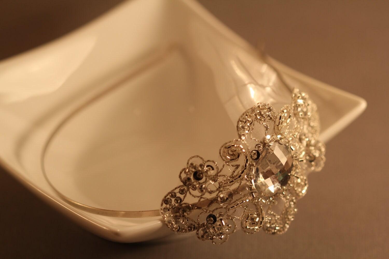 Rhinestone Applique Bridal Headband, Bridal Hair Accessory, Wedding Head Piece
