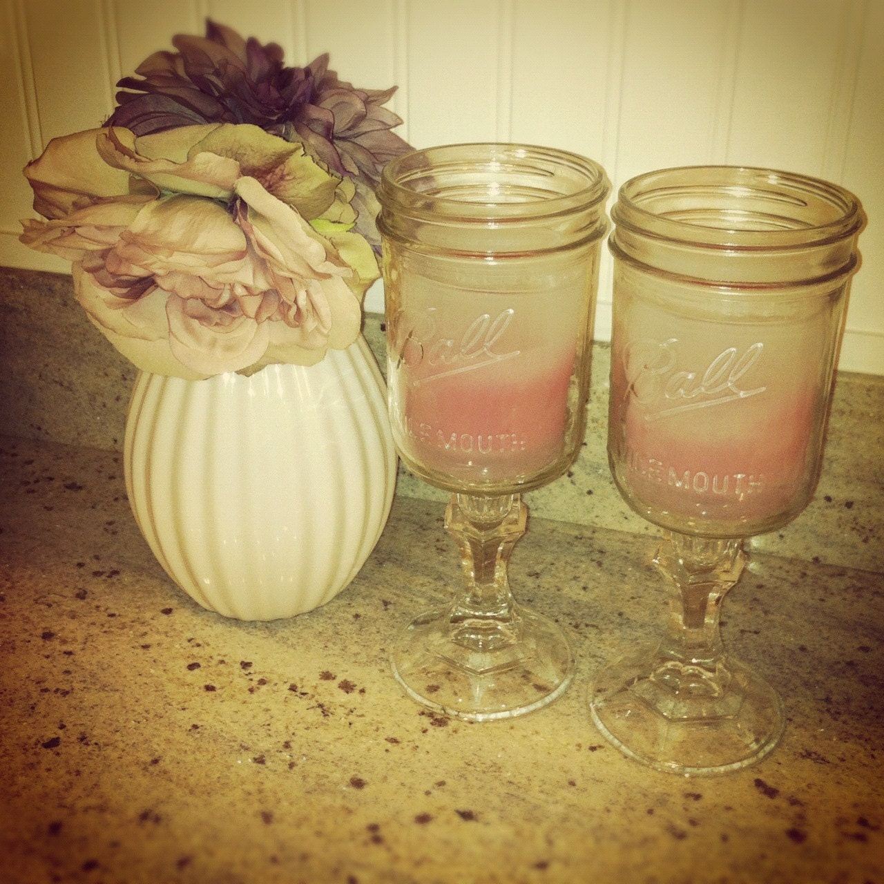 Mason Jar Candle Holders w/ Candle