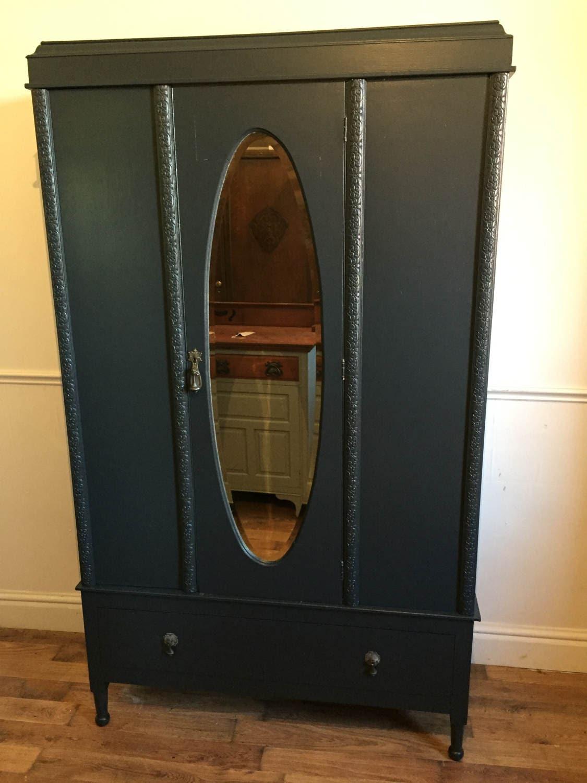 1930s carved oak mirror door wardrobe refurbished in Railings