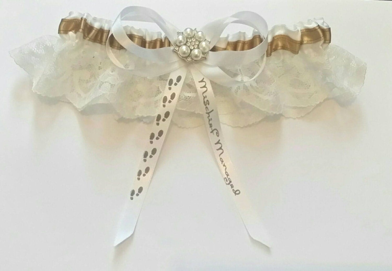 Harry Potter Mauraders Map Themed Wedding SatinSatin and LaceGarter Set