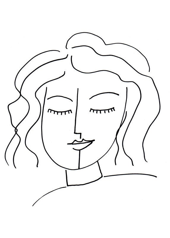 Line Drawing Yoga : Inner peace drawing peaceful woman art print by claudine