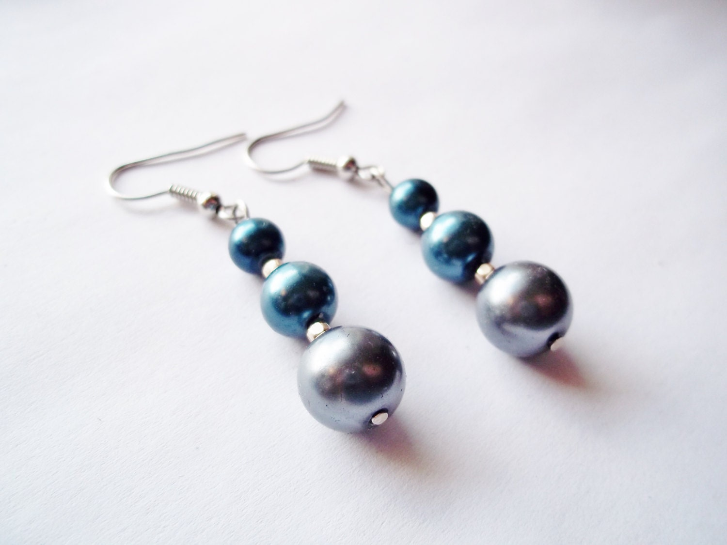 Blue earrings gray earrings pearl earrings blue and gray dangle earrings beaded earrings beaded jewelry womens jewelry valentines day gift - ImaginationbyEm