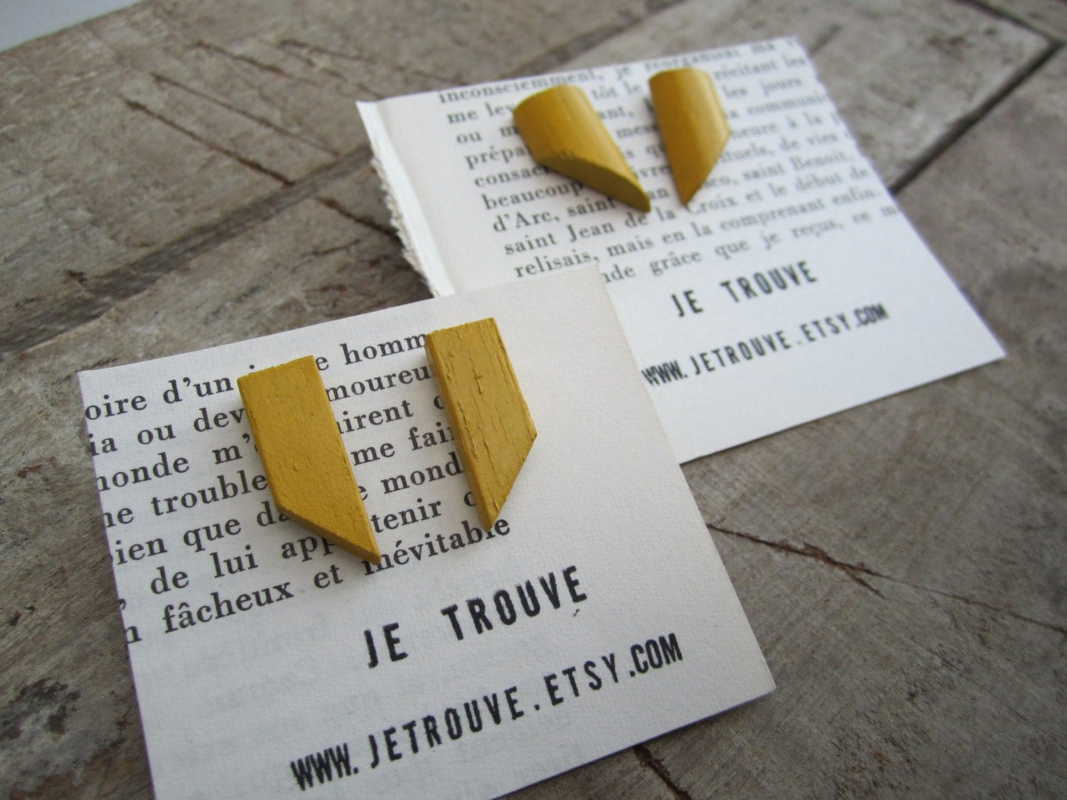 yellow earrings, reclaimed wood  stud earrings, recycled earrings - JeTrouve