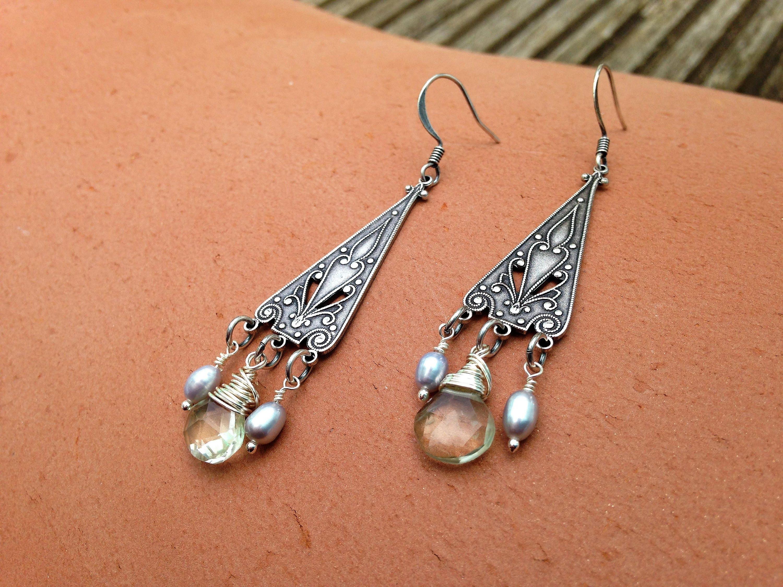 Art Nouveau Green Amethyst and Grey Pearl Silver Drop Earrings  Art Deco Birthstone Wirewrapped Earrings