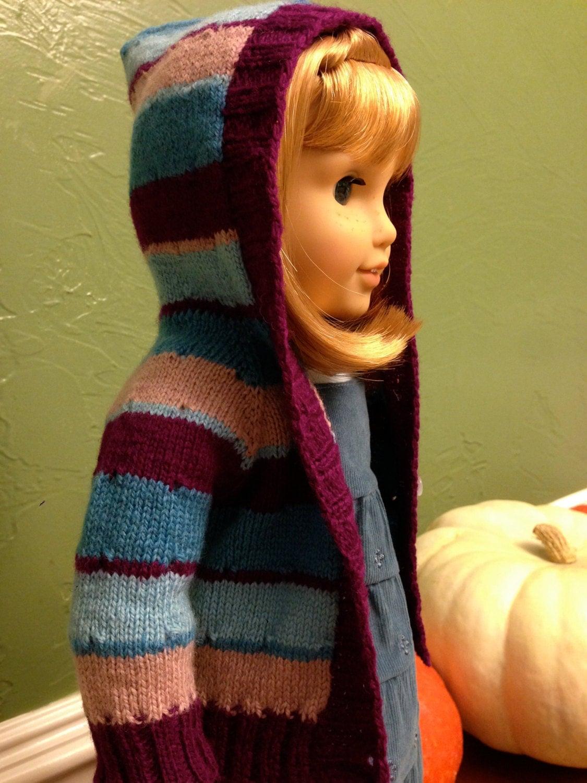 Girl Sweater Knitting Pattern : American girl doll hoodie sweater knitting pattern by AGdollknits