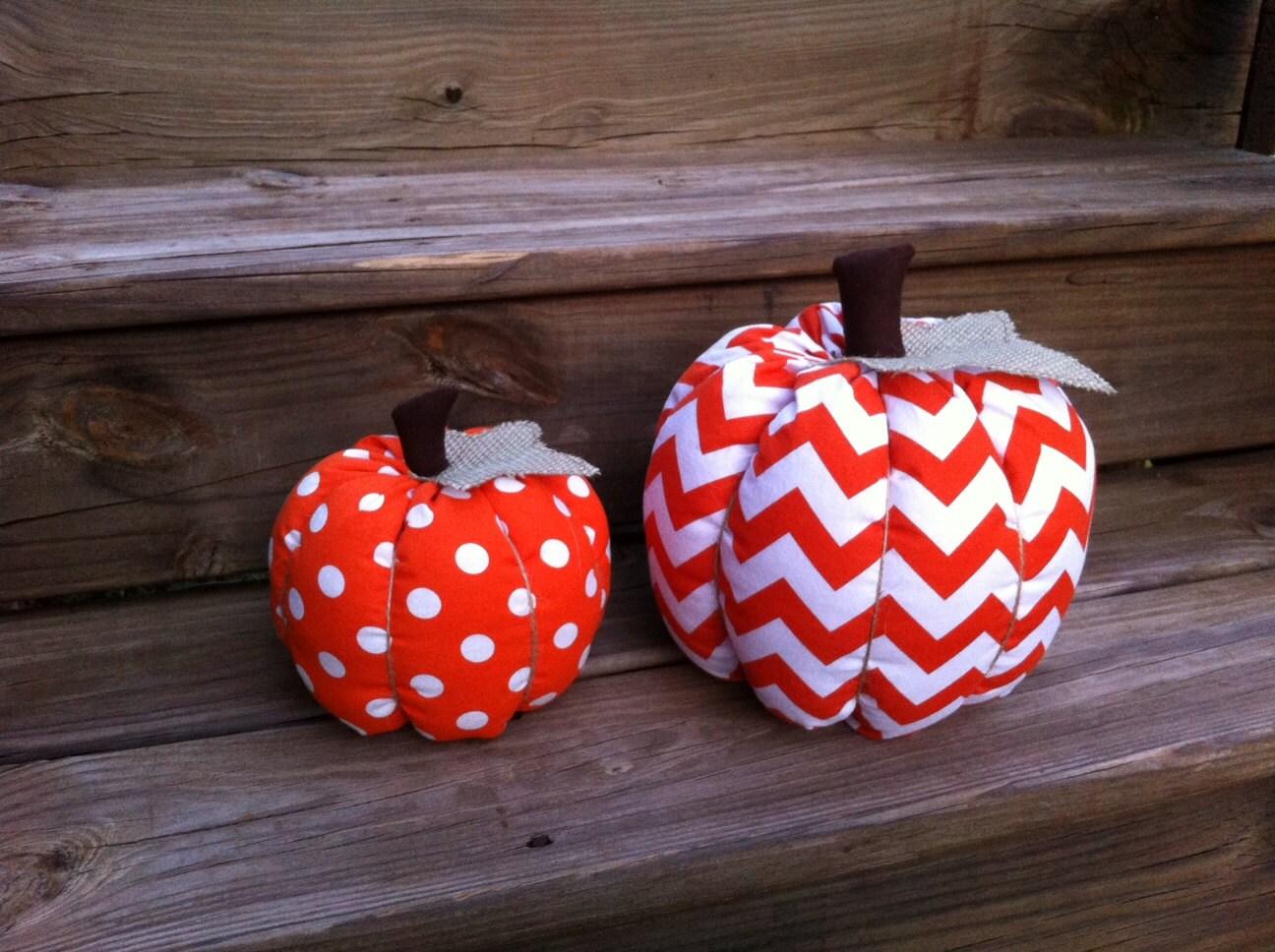 Chevron & Polka Dot Fabric Pumpkin - TheTealTree