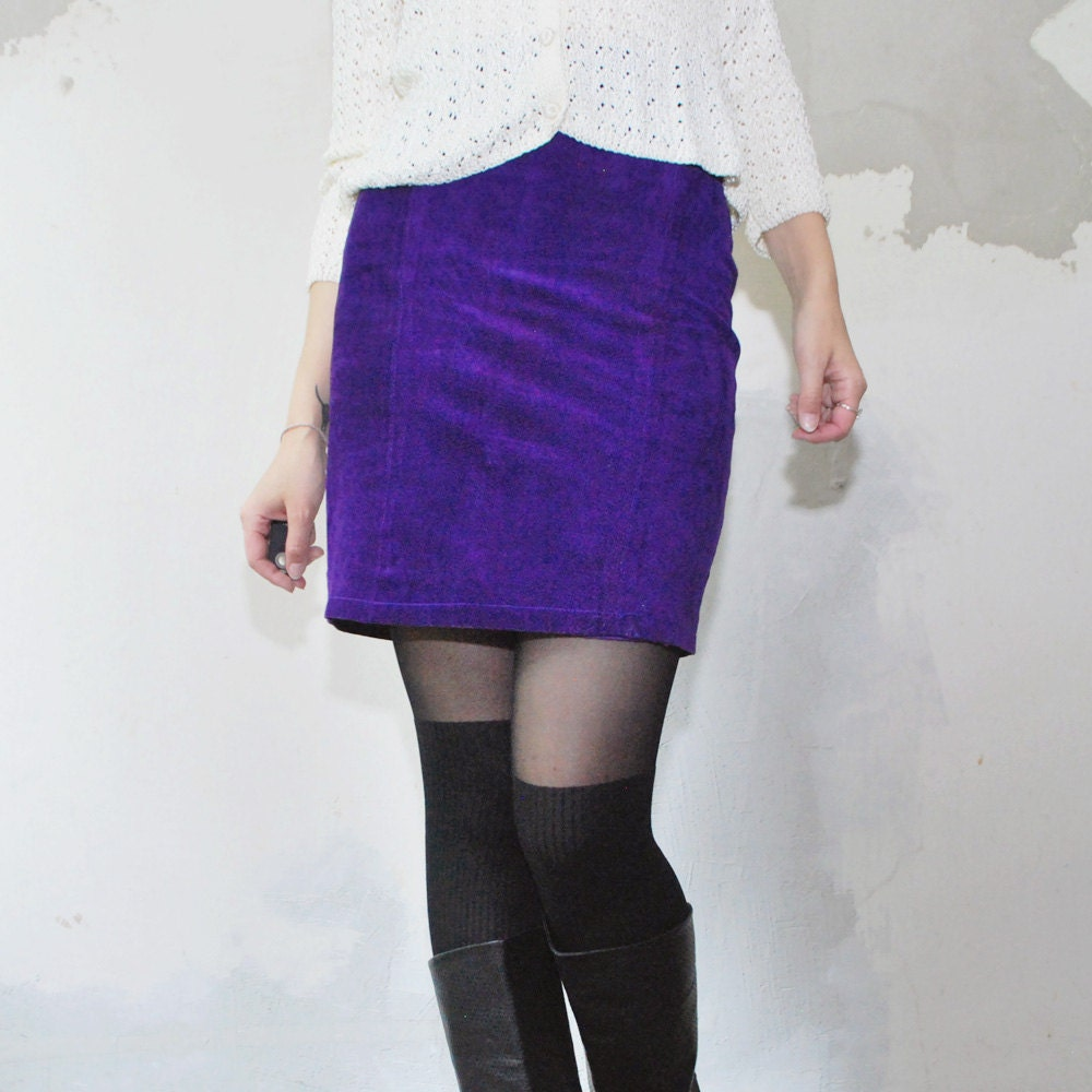 sale 80s purple neon leather skirt suede by