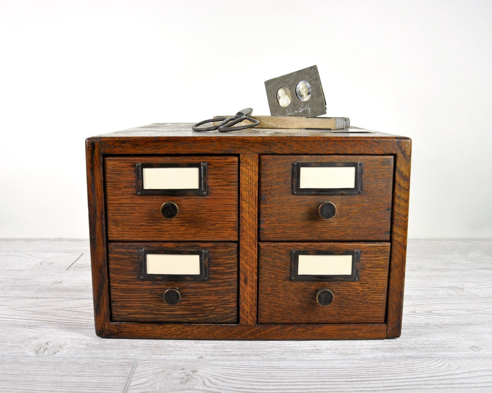 Vintage Oak Card Catalog File Cabinet Library By