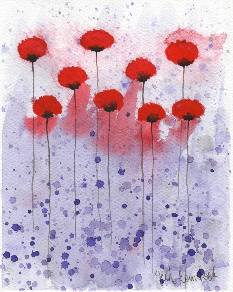 heart throb red flowers original watercolor 8x10 by
