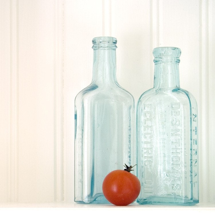 Vintage Bottle Photograph, Red and Blue, Cherry Tomato, Food Photography, Kitchen Art, 5 x 5 - Red