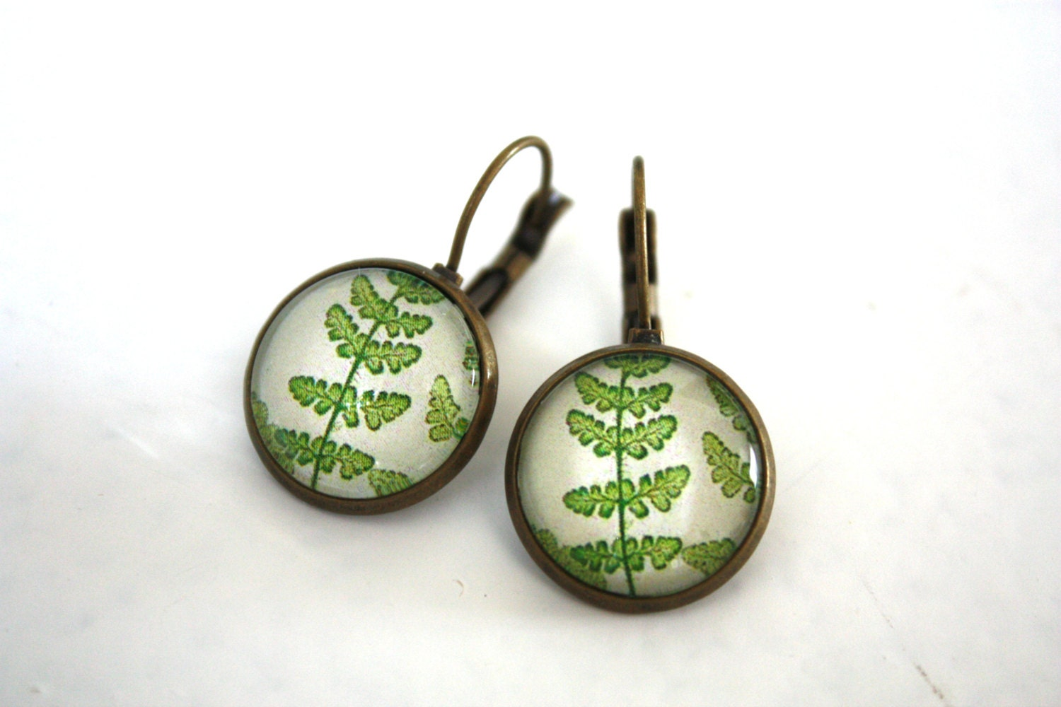 Ferns earrings - nature earrings glass cabochon - Thevintageblues