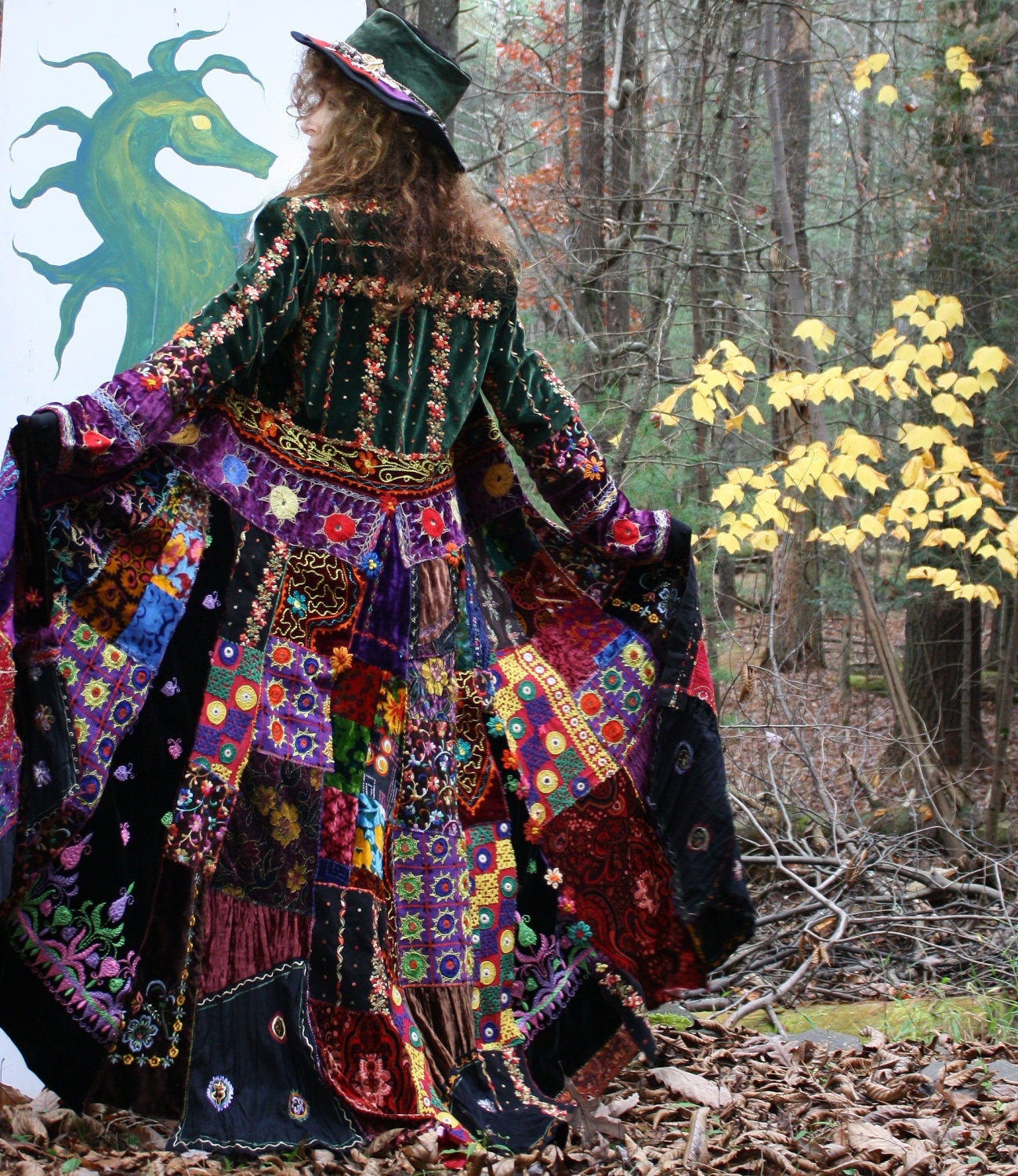 Vintage Magical Hippie Elf Fairy Tale Coat Embroidered Patchwork Velvet Special Order for M Balance Please Do not Purchase
