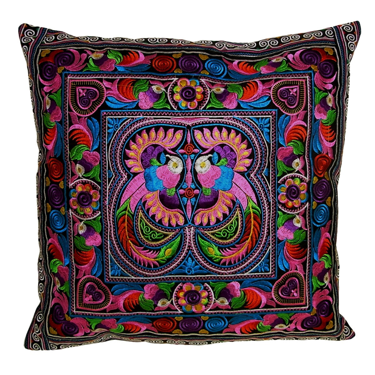 Hmong Hill Tribe Embroiderd Ethic Cushion Pillows Covers - Funny Colors Asian Peacock