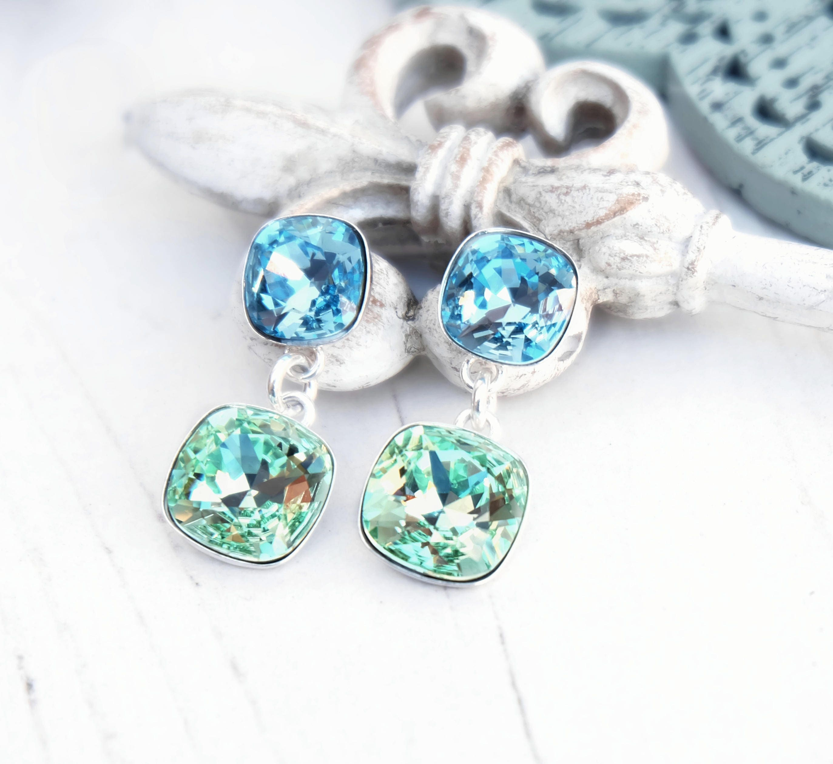 Aquamarine light green Swarovski crystal earrings Bridal wedding bridesmaids earrings Sterling Silver jewellery Square cushion cut crystal 1